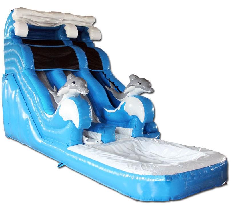 B) 18ft Dolphin Dual Lane Water Slide - Water Slides - Slides