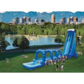 (D) 42ft Dual Blue Crush Slip N Dip Water Slide