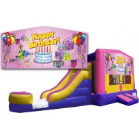 (C) Happy Birthday Bounce Slide combo - Pink (Wet or Dry)