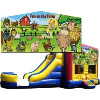 (C) Fun On The Farm Bounce Slide combo (Wet or Dry)