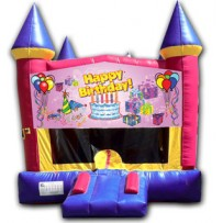 (C) Happy Birthday Castle Bounce House - Girl